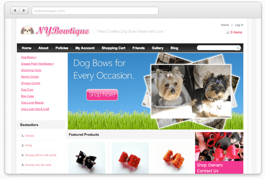 Online Shop Design for NYBowtique.com