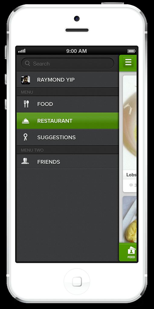 Skeuomorphic iOS Menu